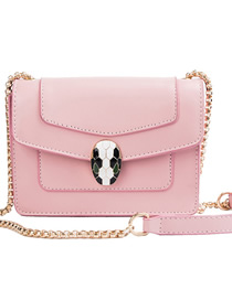 Fashion Pink Small Contrast Snake Head Stitching Shoulder Bag