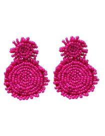 Fashion Rose Powder Mizhu Geometric Earrings