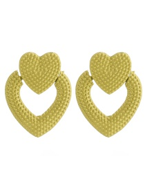 Fashion Fluorescent Yellow Alloy Love Earrings