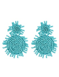 Fashion Blue Resin Rice Beads Round Earrings