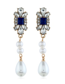 Fashion Blue Crystal Pearl Earrings