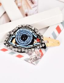 Fashion Blue Alloy Resin Rhinestone Eye Hair Clip