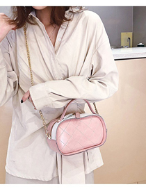 Fashion Pink Contrast Pu Embroidered Rhombic Small Bag