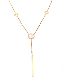Fashion White Stainless Steel Gold Plated Shell Necklace