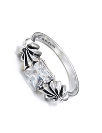 Fashion Silver 925 Silver Flower With Zircon Ring