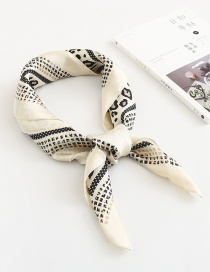 Fashion Creamy-white Leopard Print Plaid Silk Scarf