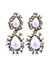 Fashion Gold Irregular Water Droplets Pearl Stud Earrings