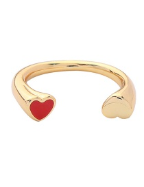 Fashion Gold Heart-shaped Drip Oil Opening Ring