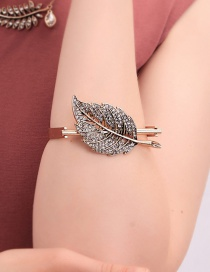 Fashion Gold Open Leaf Studded Bracelet