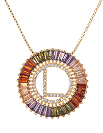 Fashion Gold Copper Inlaid Zircon Letter L Necklace