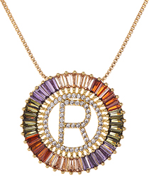 Fashion Gold Copper Inlaid Zircon Letter R Necklace