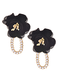 Fashion Black Alloy Cloth Flower Earrings