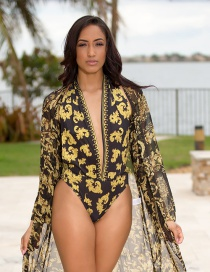 Fashion Yellow Printed Halter Neck Back Deep V-piece One-piece Swimsuit