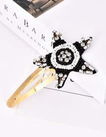 Fashion Black Alloy Resin Rhinestone Pentagram Hairpin