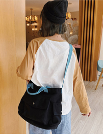 Fashion Black Colorblock Multi-pocket One-shoulder Messenger Handbag