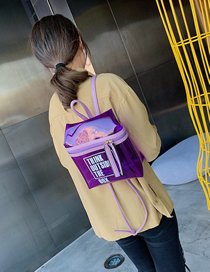 Fashion Purple Printed Letter Transparent Backpack