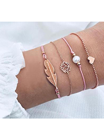 Fashion Pink Alloy Pink Wax Rope Feather Bracelet Set