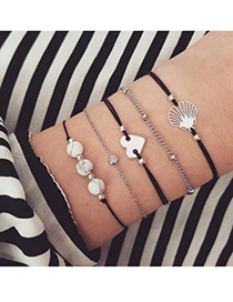 Fashion Silver Alloy Black Wax Rope Love Shell Bracelet Set