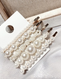 Fashion White 5-piece Pearl Hair Clip