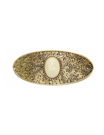Fashion Ancient Gold White Gem Alloy Pattern Pine Stone Hairpin