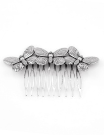 Fashion Vintage Silver Three Butterfly Combs