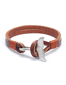 Fashion Brown Stainless Steel Whale Tail Bracelet