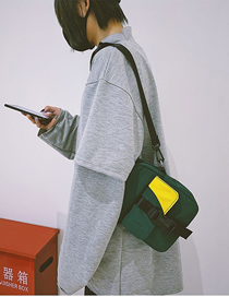 Fashion Green Snap Lock Colorblock Shoulder Messenger Bag