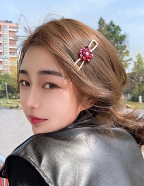 Fashion Red (crystal Flower) Alloy Hollow Clip