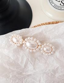 Fashion Three Flowers (spring Clip) #a215 Pearl Hairpin