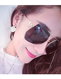 Fashion Silver Alloy Pearl Glasses Hanging Chain