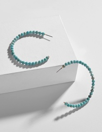 Fashion Blue C-shaped String Natural Stone Beads Earrings