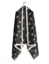 Fashion Black Starfish Print Scarf