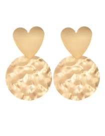 Fashion Gold Alloy Love Round Earrings