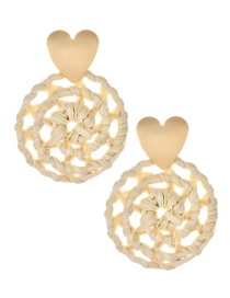 Fashion Gold Alloy Love Rattan Round Earrings