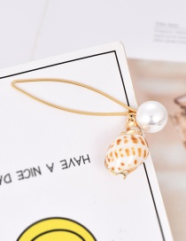 Fashion Gold Alloy Pearl Conch Hairpin