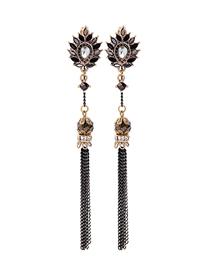 Fashion Black Diamond-encrusted Beads Tassel Earrings