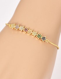 Fashion Gold Copper Inlaid Zircon Flower Bracelet