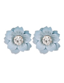 Fashion Light Blue Cloth And Diamond Flower Earrings