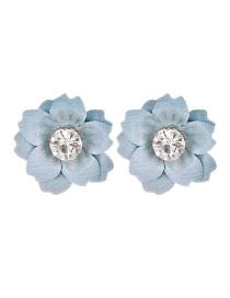 Fashion Light Blue Cloth And Diamond Flower Earrings