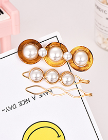Fashion Brown Alloy Pearl Resin Brown Hair Clip
