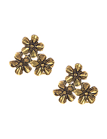 Fashion Gold Alloy Bronze Flower Earrings