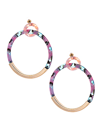 Fashion Powder Blue Alloy Resin Circle Earrings