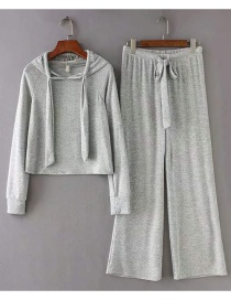 Fashion Light Gray Tie Knitted Cotton Set