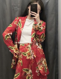 Fashion Red Flower Print Suit