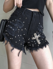 Fashion Black Washed Star Beads Stitching Hole Cross Denim Shorts