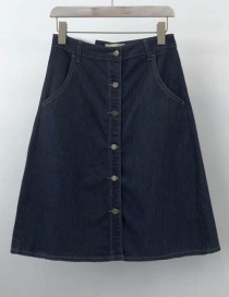 Fashion Navy Washed Single-breasted Skirt