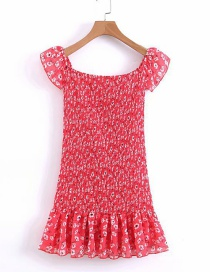 Fashion Red Floral Print Pleated Dress