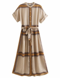 Fashion Khaki Printed Single-breasted Lace-up Dress