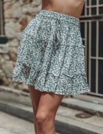 Fashion Green Floral Print Ruffled Lace Skirt