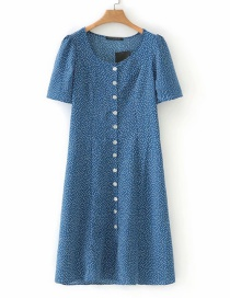 Fashion Blue Row Of Buckled Lace Dresses